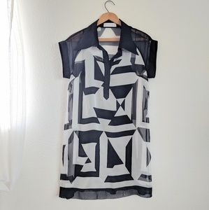 Giorgio Sedra Black and White Sheer Dress